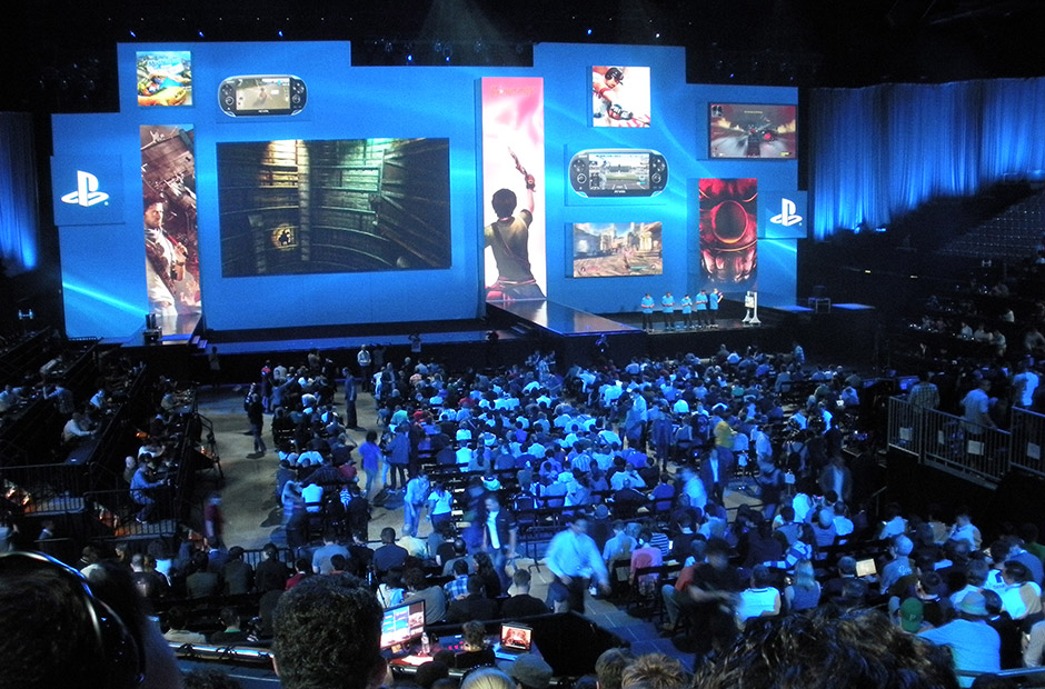 Inside the arena for Sony's presser