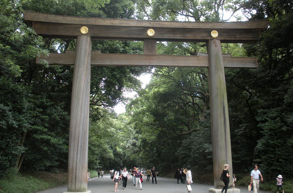 Torii gate entrance to Meiji Shrine
