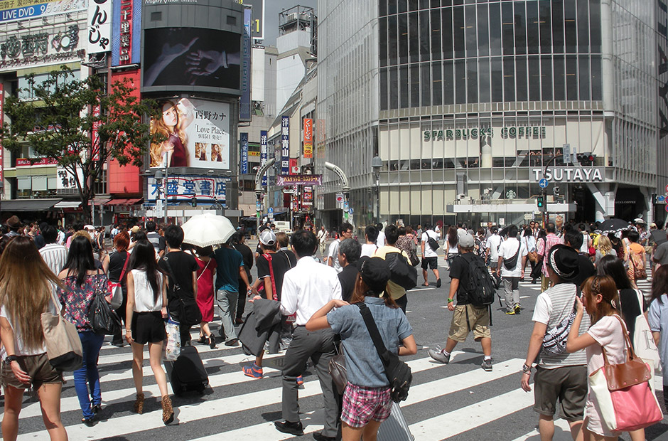 people crossing at Shibuya Station